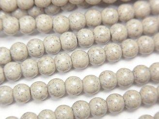 天然石卸 ◆天然記念物◆台湾産高純度北投石 ラウンド4mm 半連/1連(約37cm)