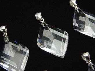 天然石卸 宝石質クリスタルAAA 4面×多面カット入りペンダントトップ 【S】【M】 Silver925製