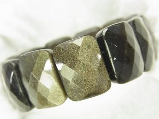 天然石卸 ゴールデンシャインオブシディアンAAA 2つ穴レクタングルカット20×15×7mm 1連(ブレス)