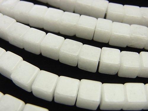 ホワイトジェード キューブ6×6×6mm 1連(約38cm)