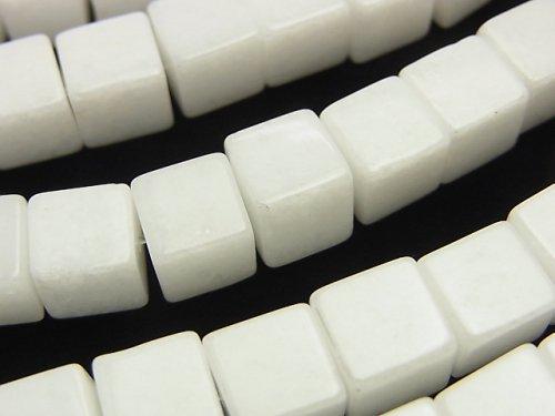 ホワイトジェード キューブ8×8×8mm 1連(約38cm)