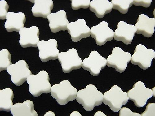 ホワイトオニキスAAA フラワーモチーフ8×8×3mm 半連/1連(約38cm)