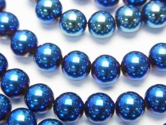 天然石卸 1連480円!ヘマタイト ラウンド8mm メタリックブルー 1連(約38cm)