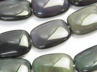 天然石卸 レインボーオブシディアンAAA レクタングル25×20×7 半連/1連(約38cm)