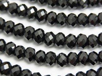 天然石卸 値下成功!素晴らしい輝き!宝石質ブラックスピネルAAA ボタンカット6×6×3mm 半連/1連(約37cm)