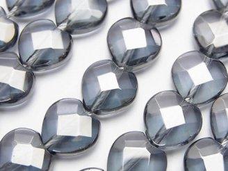 天然石卸 シルバーフラッシュクリスタル ハートカット12×12×5 半連/1連(約36cm)