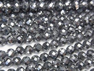 天然石卸 素晴らしい輝き!高純度テラヘルツ鉱石 32面ラウンドカット4mm 半連/1連(約37cm)