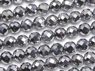 天然石卸 値下成功!素晴らしい輝き!高純度テラヘルツ鉱石 64面ラウンドカット6mm 半連/1連(約37cm)