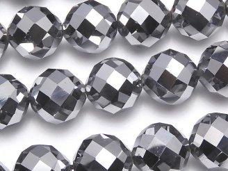 天然石卸 素晴らしい輝き!高純度テラヘルツ鉱石 64面ラウンドカット12mm 1/4連〜1連(約36cm)