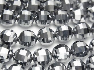 天然石卸 素晴らしい輝き!高純度テラヘルツ鉱石 ミラーラウンドカット10mm 1/4連〜1連(約37cm)