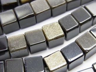 天然石卸 1連980円!ゴールデンシャイン オブシディアン キューブ8×8×8 1連(約38cm)