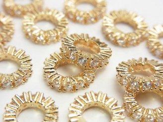 天然石卸 メタルパーツ ロンデル9×9×2mm ゴールドカラー(CZ付) 3個380円!