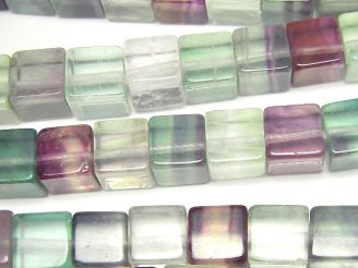 天然石卸 マルチカラー フローライトAAA-〜AA++ キューブ8mm 半連/1連(約38cm)