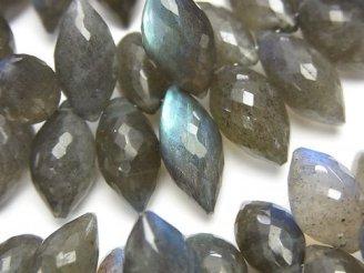 天然石卸 宝石質ブルーラブラドライトAAA- マーキス ブリオレットカット 半連/1連(約18cm)