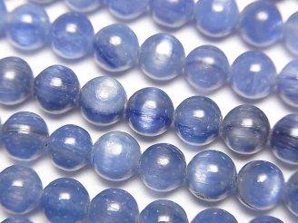 天然石卸 カイヤナイトAAA- ラウンド6mm 1/4連〜1連(約38cm)