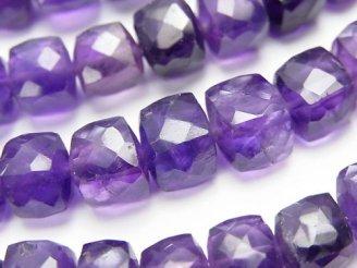 天然石卸 宝石質アメジストAAA-〜AA++ キューブカット 半連/1連(約18cm)