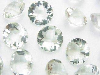 天然石卸 宝石質グリーンアメジストAAA 穴なしコインファセットカット10×10×5 3粒580円!