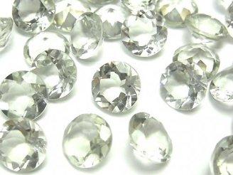 天然石卸 宝石質グリーンアメジストAAA 穴なしブリリアントカット10×10×6 4粒780円!