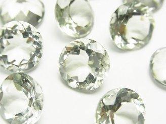 天然石卸 宝石質グリーンアメジストAAA 穴なしラウンドファセットカット12×12×7mm 3粒980円!