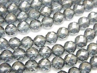 天然石卸 シルバーフラッシュクリスタル 64面ラウンドカット6mm 半連/1連(約38cm)
