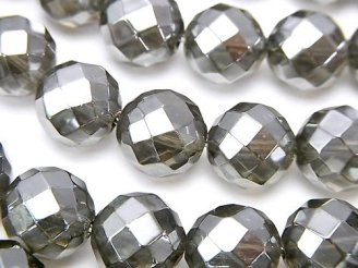 天然石卸 シルバーフラッシュクリスタル 64面ラウンドカット12mm 1/4連〜1連(約38cm)
