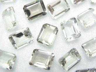 天然石卸 宝石質グリーンアメジストAAA 穴なしレクタングルファセットカット10×8×5 3粒680円!