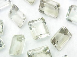 天然石卸 宝石質グリーンアメジストAAA 穴なしレクタングルファセットカット11×9×6 3粒780円!