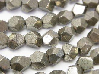 天然石卸 パイライト ラフタンブルカット〜ラウンドカット 半連/1連(約38cm)