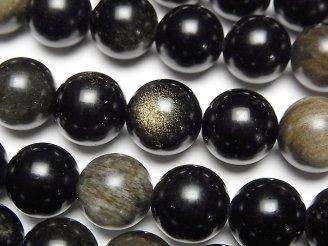 天然石卸 1連780円!ゴールデンシャインオブシディアンAAA ラウンド12mm 1連(約38cm)