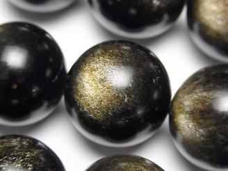 天然石卸 ゴールデンシャインオブシディアンAAA- ラウンド20mm 半連/1連(約36cm)