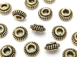 天然石卸 ブラス(真鍮) ロンデル8×8×3 縄模様入り いぶし 半連/1連(約18cm)