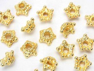天然石卸 コッパー(銅) ビーズキャップ8×8×4 18KGP 半連/1連(約20cm)
