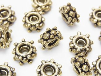 天然石卸 ブラス(真鍮) ロンデル10×10×5mm いぶし仕上げ 半連/1連(約18cm)