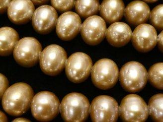 天然石卸 1連1,680円!淡水真珠AA++〜AA+ ポテト8〜9mm シャンパンゴールド 1連(約34cm)