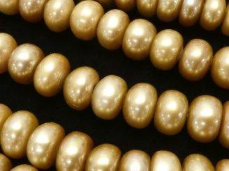 天然石卸 1連1,280円!淡水真珠AA++ ロンデル8×8×5 シャンパンゴールド 1連(約37cm)