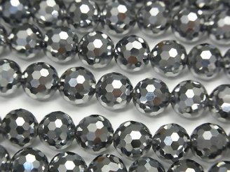 天然石卸 素晴らしい輝き!高純度テラヘルツ鉱石 128面ラウンドカット8mm 1/4連〜1連(約38cm)