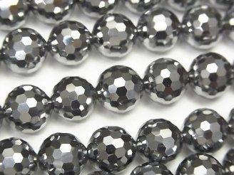 天然石卸 素晴らしい輝き!高純度テラヘルツ鉱石 128面ラウンドカット10mm 1/4連〜1連(約36cm)
