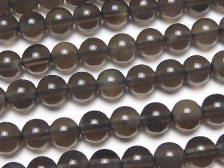 天然石卸 1連680円!メキシコ産ブラックアイスオブシディアンAAA ラウンド6mm 1連(約37cm)