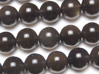 天然石卸 メキシコ産ブラックアイスオブシディアンAAA ラウンド10mm 半連/1連(約37cm)