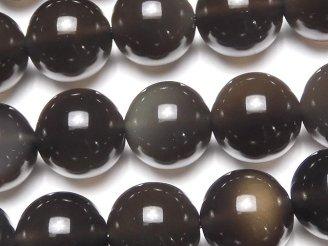 天然石卸 メキシコ産ブラックアイスオブシディアンAAA ラウンド12mm 半連/1連(約37cm)