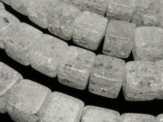 天然石卸 クラッククリスタル キューブ10×10×10 半連/1連(約38cm)