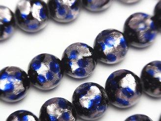 天然石卸 とんぼ玉 ラウンド10mm 【ピンク×ブルー】 1/4連〜1連(約36cm)