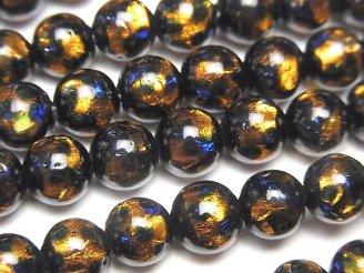 天然石卸 とんぼ玉 ラウンド8mm 【オレンジ×ブルー】 1/4連〜1連(約36cm)