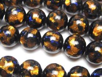 天然石卸 とんぼ玉 ラウンド10mm 【オレンジ×ブルー】 1/4連〜1連(約36cm)
