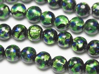 天然石卸 とんぼ玉 ラウンド8mm 【グリーン×ブルー】 1/4連〜1連(約36cm)