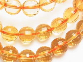 天然石卸 素晴らしい輝き!宝石質シトリンAAA ミラーラウンドカット8mm 1連(ブレス)