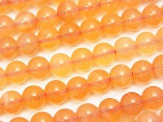 天然石卸 ボツワナ産オレンジカルセドニーAAA- ラウンド6mm 半連/1連(約38cm)