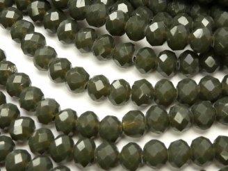 天然石卸 1連180円!ガラスビーズ ボタンカット4×4×3 グレーNO.3 1連(約47cm)