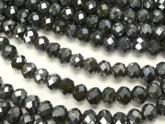 天然石卸 1連180円!ガラスビーズ ボタンカット4×4×3 グレーNO.3AB 1連(約46cm)