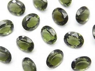宝石質モルダバイトAAA 穴なしオーバルファセットカット10×8×5mm 1個3,980円!